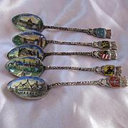 Set of Five Enamel Bowl Hand Painted German Vintage Souvenir Silver Spoons