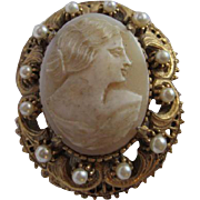 Florenza Genuine Shell Cameo in Ornate Frame fx Pearls Vintage Brooch Pin Pendant