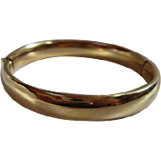 Vintage Classic Shiny Gold plated hinged Bangle Bracelet