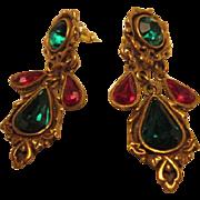 Vintage 1928 Company Victorian Revival Christmas Holiday Pierced Dangle Earrings