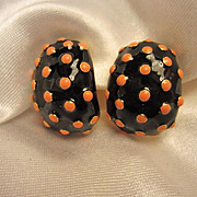 Joan Rivers Coral Enamel Dots on Black Enamel Clip On Vintage Earrings NOS Signed