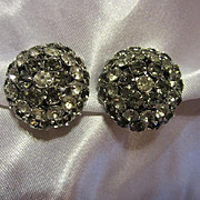 Warner signed Gorgeous Smokey Gray and Clear Rhinestone Vintage Button Clip On Earrings
