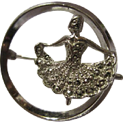 Sterling Silver Marcasite Ballerina Vintage Circle Brooch Pin