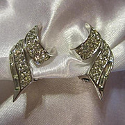 Stunning Boucher Signed and Numbered Sparkling Clear Baguette and Round Rhinestone Clip Earrings