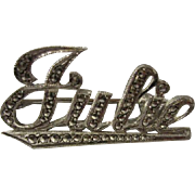 Vintage JULIE Name Marcasite Sterling Silver Brooch Pin