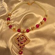 Elegant Ornate Vintage fx Pearl Fuschia Enamel Dangle Necklace Origin India