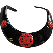 Kenneth Jay Lane Asian Inspired fx Cinnabar Black Enamel Rigid Collar Necklace KJL USA Signed