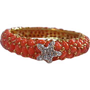 Kenneth Jay Lane KJL Wide Coral Cabochon Starfish Vintage Bangle Bracelet