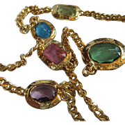 Fabulous Runway Statement Huge Jeweled Faceted Crystals Modern Bezel Curb Link Gold Plated 32 inch Vintage Necklace