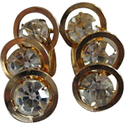 Judy Lee Beautiful Triple Crystal Rhinestone Modernist Vintage Clip Earrings