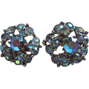 Gorgeous Bogoff Signed Iridescent Blue Aurora Borealis Vintage Clip Earrings