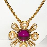 Stunning Kenneth Jay Lane KJL Romanesque Statement Interchangeable Vintage Brooch Pin Pendant Necklace Set