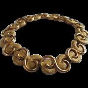 Trifari  Modernist Gold tone Swirled Textured Mint Vintage Bracelet