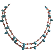 Lucan Lameth LUC Coral and Turquoise Double Strand Sterling Silver 925 Vintage Necklace