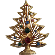 Vintage Rhinestone embellished Christmas Tree Brooch Pin