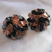Fabulous Glass Champagne and Black Vintage Clip Earrings Signed West Germany