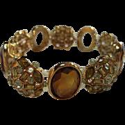 Stunning Topaz color Oval Rhinestone Peridot Design Vintage Designer Prototype Vintage Bracelet