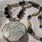 Fabulous Vintage Hand Painted Pendant upcycled with Crystal, Ruby Zolitie and Lapis Necklace 925 Sterling Clasp
