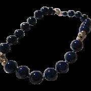 14K Gold Genuine Lapis Lazuli Vintage Bracelet