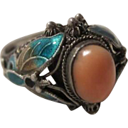 Gorgeous Vintage Coral Chinese Enamel Butterfly Sterling Ring