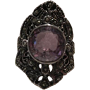 Art Deco Stunning 4 carat Amethyst Marcasite Sterling Silver Ring Size 8