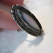 Vintage Native American Abalone Sterling Silver Hand Made Ring