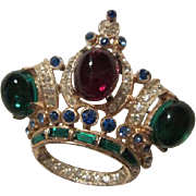 Regal CoroCraft Sterling Silver Jeweled Vintage Crown Brooch Pin