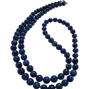 Lapis Lazuli Vintage Strand 21 inch Necklace Sterling Silver Clasp