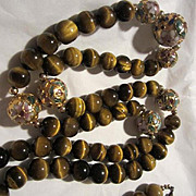 Incredible Chinese Cloisonne and Tiger Eye 30 inches Long Vintage Necklace