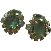 Gorgeous Aquamarine Vintage Rhinestone Clip  Earrings