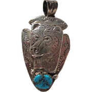 Vintage Navajo Bear Turquoise Signed GG Hand Etched Sterling Silver Arrowhead Native American Pendant