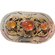 Gorgeous Signed Amber Sterling Silver Native American Vintage Brooch Pin