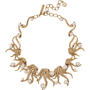 Oscar de la Renta Fabulous Gold plated faux Pearls Statement Couture Runway Necklace