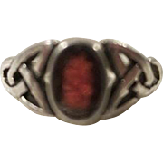 Garnet Celtic Knot Sterling Silver Ring