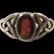 Garnet Celtic Knot Sterling Silver Ring