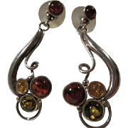 Stunning Baltic Amber Three Color Sterling Silver Dangle Vintage Pierced  Earrings