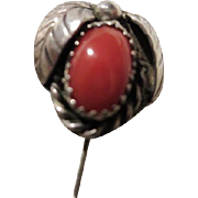 Vintage Native American Coral Sterling Silver Old Pawn Stick Pin