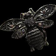 Vintage 1928 Company Bug Brooch Pin Gunmetal Sparkling AB Rhinestones