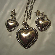 Sterling Silver Puffy Heart on Chain with Matching Pierced Earrings Vintage Set