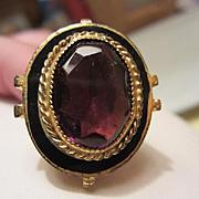 Huge Amethyst Glass Enamel Brass Adjustable Civil War Era Revival Vintage Ring