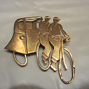 Rare European Art Deco Bicycle Built for Two Tussy Mussy Flower Holder Brooch Pin