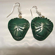Vintage Malachite Inca Masks Sterling Silver Earrings