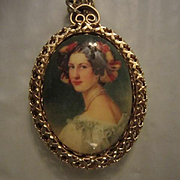Fabulous Vintage Victorian Lady Portrait Mirror on Reverse Pendant on Long Gold Plated Chain