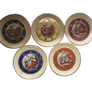 Miniature Set of Plates Romantic Antique Scenes Gold Plate Decorated Made in Germany