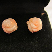 Carved Coral Flower Earrings Vintage 14 Karat Gold Estate Fine Jewelry