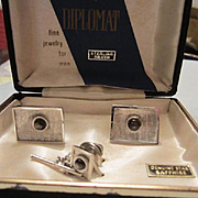 Diplomat Sterling Silver Star Sapphire Mid Century Vintage Cufflinks and Tie Tac Set Original Box