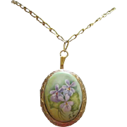 Gorgeous Whiting and Davis Hand Painted Violets Signed Porcelain Locket on Chain