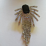 Gorgeous Statement Long Dangle Vintage Black Enamel Rhinestone Brooch Pin