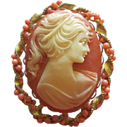 Vintage Cameo with Coral bead wired Gold tone Frame Brooch Pin
