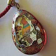 Fabulous Rare Vintage Cloissone Bird of Paradise Reverses to Gorgeous Flower Pendant Matching Braided Rope Necklace